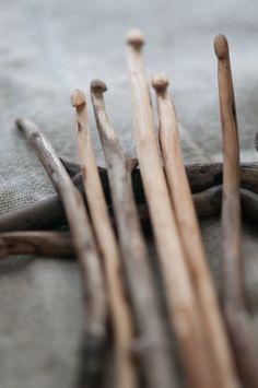 Wooden sticks made into crochet hooks