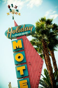 Los Angeles Holiday Lodge Motel Vintage Neon Sign - Mid Century Modern Art - Retro Home Decor - Colorful Wall Art - 24X36 Print