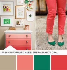 Very cute! - Emerald + Coral 'Tuesday Huesday' Palette on HGTV Design Happens >> http://blog.hgtv.com/design/2013/03/12/coral-emerald-green-girls-room-color-palette?soc=pinterest