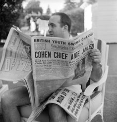 Not originally published in LIFE. Mobster Mickey Cohen relaxing at home in Los Angeles, 1949.