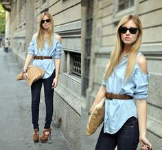 I LOVE THIS SHIRT jean, denim fashion, outfit, denim shirts, street styles, belt, leather jackets, cut outs, leopard