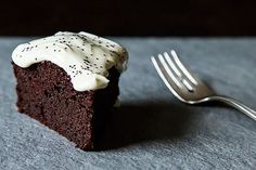Nigel Slater's Extremely Moist Chocolate-Beet Cake with crème fraîche and poppy seeds