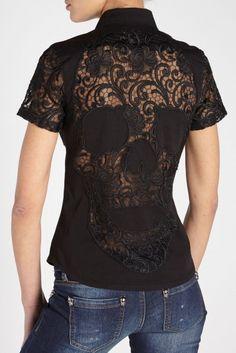 'Precious Lady' Skull black denim shirt ~ Philipp Plein