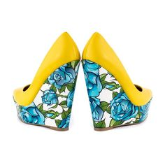 Get bodacious in the Bonafide! This flirtatious pump features a black and white polka dot upper, with D'orsay design and pointed toe. #InkedShop #blue #yellow #rose #roses #wedges #fashion #style