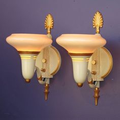 Pair Vintage Custard & Gold Wall Sconces 2 pair available priced per pair www.rubylane.com #antiquelighting #artdeco custard amp, wall sconces, vintag custard