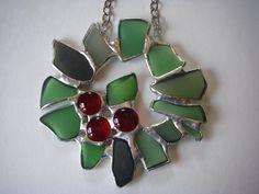 Sea Glass Seaglass, wreath, Christmas Ornament, decorative hanging, sun catcher