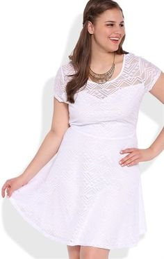 Plus Size Tribal Crochet Skater Dress with Illusion Neckline