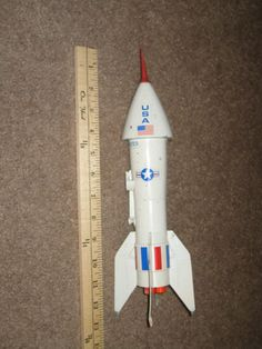 Vintage Metal Rocket Mechanical Shooting Coin Bank USA