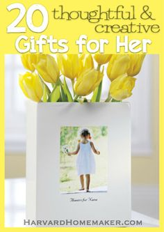 Find 20 unique and thoughtful gifts for her that show how much you care! Perfect for your mom, grandma, mother-in-law, or any special lady - just in time for Mother's Day! Also a handy list to refer back to for inspiration around Christmas, a birthday, or anytime! #giftideas #mothersday #gifts #giftsforher #harvardhomemaker