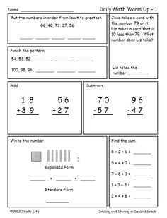 Second Grade math review--great for homework-click on preview for FREE sample pages