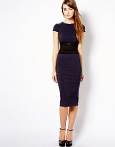 New Look Bodycon Dress With Lace Waist Detail