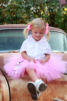 Children clothing skirt Pink Poodle Skirt Tutu by by atutudes, $24.95