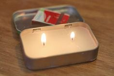 Small take away emergency candle from Altoids tin.