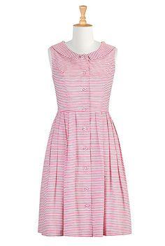 Shawl collar stripe shirtdress