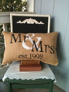 Mr and mrs pillow, personalized pillow, valentines gift, wedding, gift. $27.00, via Etsy. --- This is perfect!  the year we got married.  It is meant for our home!!