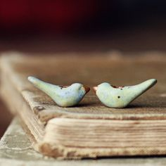 Tiny pastel birds ceramic bird bead pair by kylieparry on Etsy, $18.00