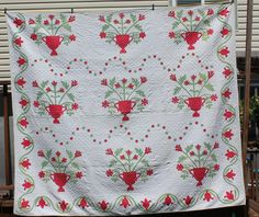 Fun Whimsical Antique 1800's Flower Urn Basket Quilt Red and Green Applique | eBay