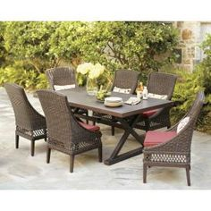 Loving the Faux Wood Picnic Style Table! | Hampton Bay Woodbury 7-Piece Patio Dining Set with Dragon Fruit Cushions-D9127-7PCR at The Home Depot