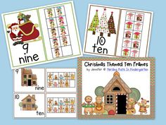 This pack contains three styles of ten frames – Gingerbread, Santa and Reindeer and Christmas trees with presents. Posters and math center activities!
