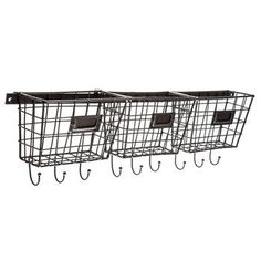 Metal Basket Rack with Hooks