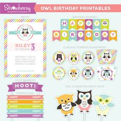 The perfect printable set for your little girl! Owl birthday party set.