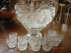 Cut Glass Punch Bowl set