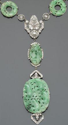 An art deco jadeite jade, diamond and platinum necklace, circa 1925.