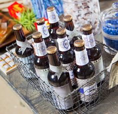beer basket + custom-wrapped labels for beer tasting party