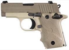 Sig P238 Desert Sub Compact Pistol, 380 ACP, Ambi Safety, Night Sights firearm, sig p238, sauer p238, sauer handgun, weapon, sig sauer, deserts