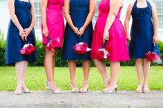 bridesmaids dresses. alternating in fuchsia and navy. Now I will just have to convince B that pink in our wedding IS happening. :p