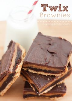 Twix Brownies (note homemade - with boxed brownie mix, shortbread cookies, and bag of caramels)