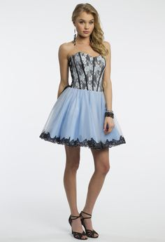 Camille La Vie Strapless Short Party Prom Dress with Corset Lace