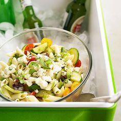 watermelon salad, summer picnic, greek pasta, pasta salad, food, picnic recipes, 4th picnic, potluck