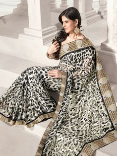 Sarees, Sari, Georgette Saree, Black Saree, Saree by #Utsavfashion | $102.09
