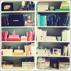 Love these color coded bookshelves