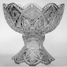 Two piece cut glass punch bowl- stunning!