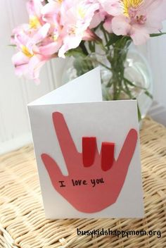 "Turn a trace of your child's hand into a sign language ""I love you\"" card. // 17 Easy Emergency Mother's Day Crafts For Kids #mothersday #card #kidscraft"