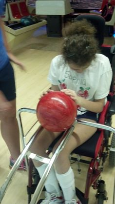 Adaptive wheelchair bowling! This device can be used for individuals using a wheelchair so they can be able to roll the ball down the ramp to knock down the pins.