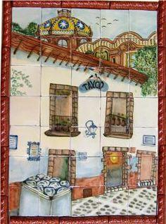 Taxco Handpainted Mexican Talavera Ceramic Tile Mural  Mexican Talavera Tile Mural $350.00