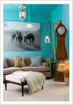 Mora clock in a turquoise room