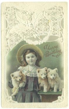 Antique Postcard Girl Puppies Dogs Pomeranians 1910s Happy Birthday Greetings