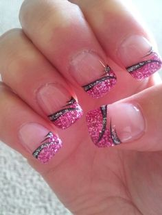 Glitter French Tip with Nail Art