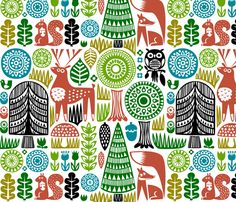 line drawings, pattern, block prints, wall decals, spoonflower, woodland creatures, fabric design, forest, woodland animals