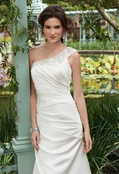 Wedding Dresses - Beaded One Shoulder Satin Wedding Dress from Camille La Vie and Group USA