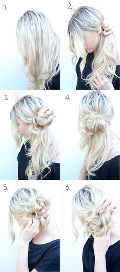 Side Messy Bun...i actually want to stop at #4 and braid or curl the bottom pieces