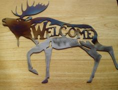 Rustic Metal Moose Welcome