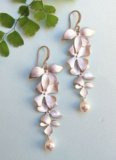 Silver Flower Earrings with Pearls by LunaTerra on Etsy,