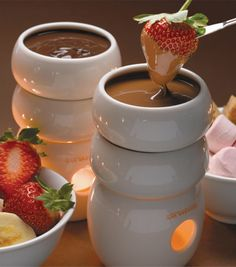 Hot chocolate + strawberries = awesome