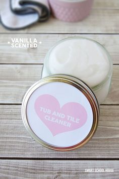 Tub and Tile Cleaner. A homemade cleaner that has a vanilla scent plus a free label to print out.