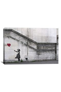Street Art: There Is Always Hope Balloon Girl  26inX18in Canvas Print